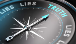 Truth and lies written on compass